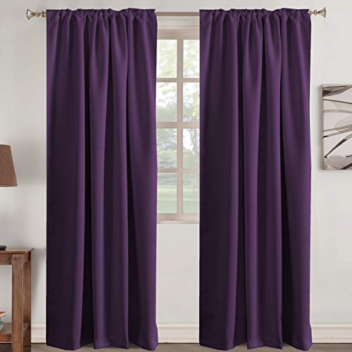 Blackout Curtains Purple Window Treatments Thermal Insulated Curtains for Living Room, Back Tab / Rod Pocket Window Drapes, 2 Panels - 52 inches Wide by 84 inches Long, Plum Purple