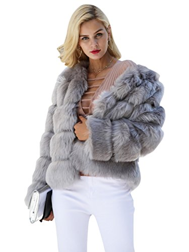 Simplee Women Luxury Winter Warm Fluffy Faux Fur Short Coat Jacket Parka Outwear (Gray 4-6)
