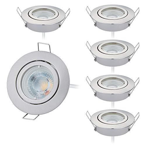 HCFEI 6er set LED Einbaustrahler dimmbar rund schwenkbar 5W flach 230V Einbau-Spot Strahler Einbauspot 68mm Bohrloch, Warmweiß 3000K