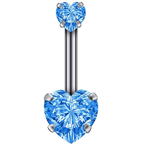 LOOEST Classic 2 pcs Belly button earrings belly piercing steel belly button buckle crystal piercing belly button heart style piercing sexy body jewelry piercing Jewellery (Metal color : Blue)