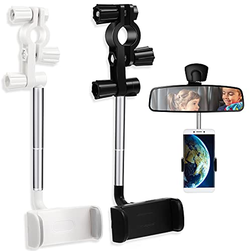 2 Pieces 360 Degree Rearview Mirror Phone Holders Universal Car Phone Holder Mount Car Rearview Mirror Mount Phone and GPS Holder, Car Phone Mount Clip for 4-6.1 Inch Mobile Phones (Black, White)