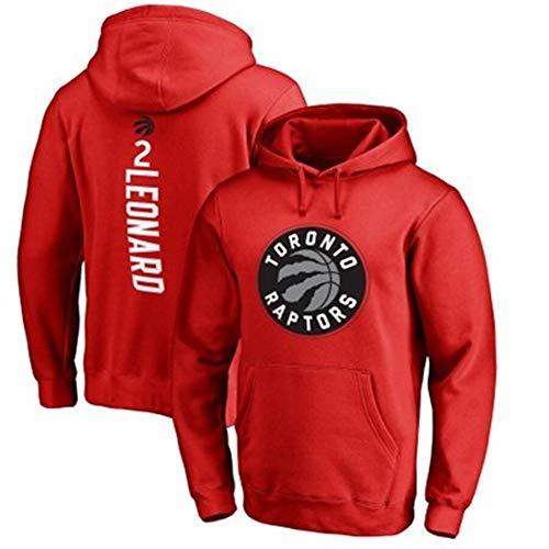 SHOP YJX NBAToronto Raptors Kawhi LeonardNo.2 - Sudadera con capucha y capucha para hombre, cómodo, informal, color rojo, talla S: