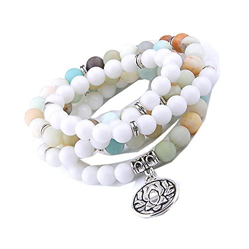 108 cuentas de oración esmerilado mate pulsera de piedra de amazonita colgante de loto, collar con dijes para Yoga Engery, pulsera para hombres, joyería para mujeres
