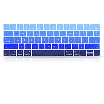 ProElife Blue Gradient Keyboard Cover Ultra Thin Keyboard Protector Skin for MacBook Pro with Touch Bar 13-inch 15-inch  Model A2159 A1989 A1990 A1706 A1707   2019 2018 2017 2016   Ombre Blue