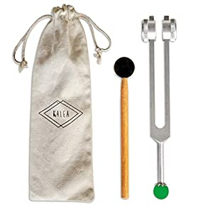 OM Tuning Fork 136.1 HZ Weighted - with Buddha Bead Base for Ultimate Healing and Relaxation - Green for Heart Chakra by Kalea