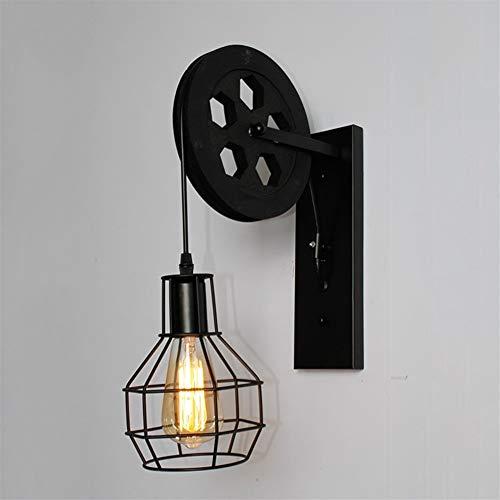 Vintage woonkamer-wandlamp Loft Retro Lifting riemschijf wandlamp industriële stijl ijzeren lantaarns hanglamp Zwart zonder lamp