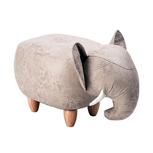 Happy Home Tierhocker Cartoon Fußhocker Deko Hocker Kinderhocker für Kinderzimmer Wohnzimmer Schlafzimmer, Elefant Fußbank, 65x35x37 cm