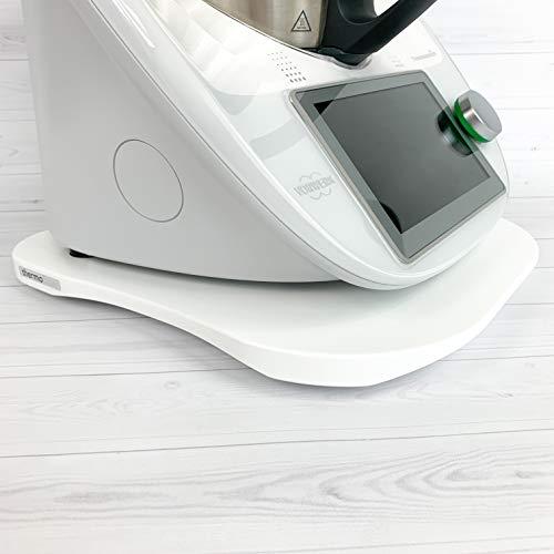 INWOOD thermoBase Premium Tabla de Madera / Thermomix TM5 TM6 / Tabla Deslizante / 2 Deslizadores de teflón en Lugar de Ruedas / 2 topes de Goma para Mayor Estabilidad / diseño Innovador
