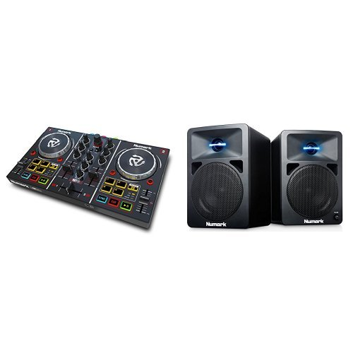 Numark Party Mix DJ Controller mit eingebauter Lichtshow, Audioausgängen und Virtual LE Software + Numark N-Wave 360 Aktiver 2-Wege Desktop Monitor Lautsprecher (für DJ & PC / Mac, 60 Watt) Bundle