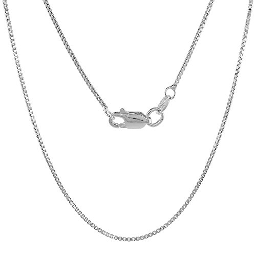 Sterling Silver 1mm Box Chain Necklace with Lobster Claw Clasp Nickel Free Italy, 18 inch