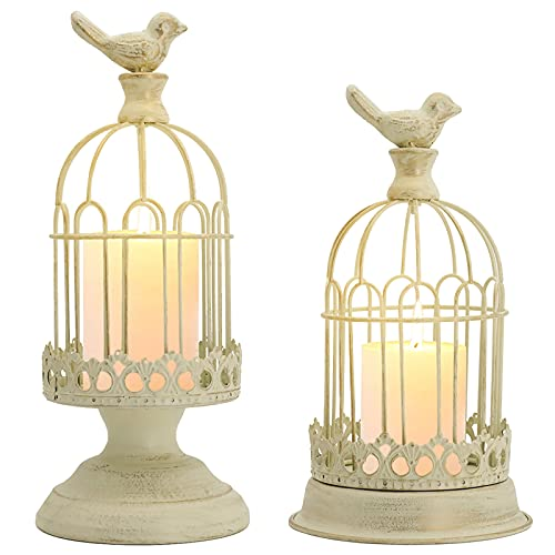 Decorative Bird Cage Candle Holder White Vintage Candle Lanterns Set of 2 for Wedding Candle Centerpieces Reception Home Fireplace Holiday Decoration Distressed White