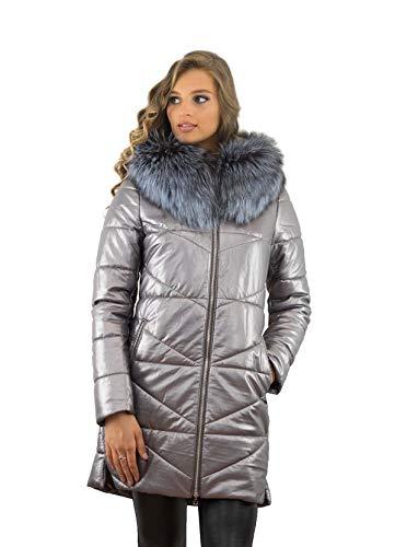 Wintermantel Winterjacke XXL Pelzkragen Kollektion Echtfell Echtpelz Silberfuchs Farbe Silber (48)