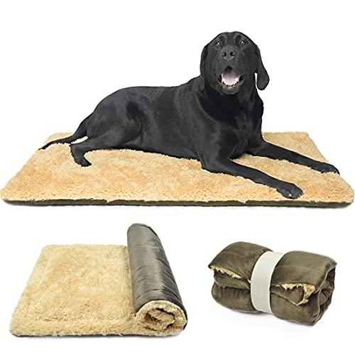 TVMALL Hundekissen Hundebett Decke für Reisen Waschebar Stilvolles Haustiermatte Plüschweiche Wende Bettbettmatte Sofamatratze für Große, Mittelgroße, Kleine Hunde - Braun, 110x70 cm