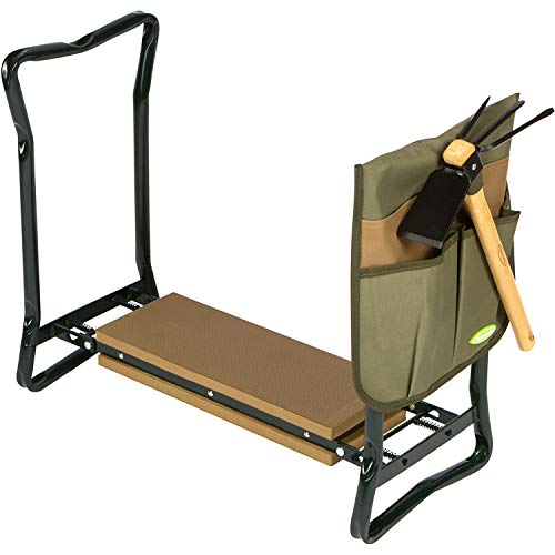 Truly Garden Kneeler/Seat with Cultivator Hoe. This Portable, Foldable Garden Bench Includes a Classic Garden Tool and Handy Tool Pouch Making it a Great Gift for Any Gardener.