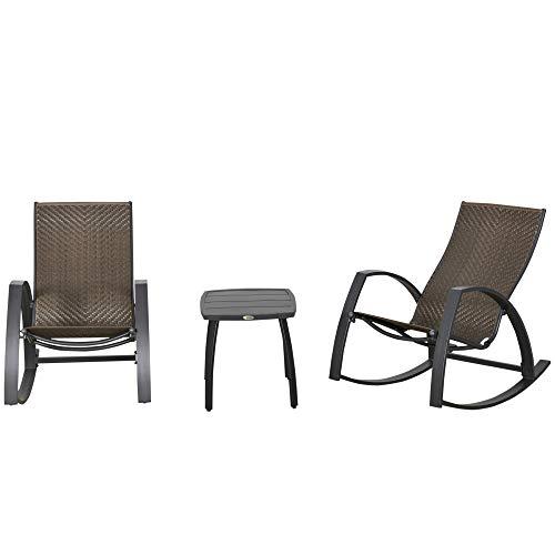 Outsunny Rattan-Schaukelstuhl Bistroset 3 teilige 2 Stühle 1 Tisch Aluminium Komfort UV-Beständig für Gärten Terrassen Pools Patio