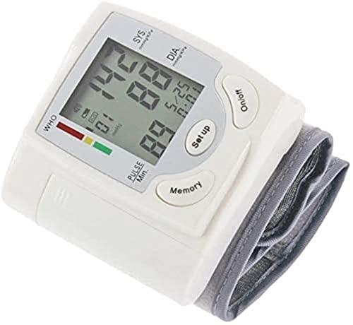 Monitor de presión arterial de muñeca, kit de presión arterial de manguito y caja de transporte - Detector de latidos de corazón irregular con pantalla LCD retroiluminada grande