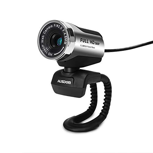 HD Webcam 1920x1080P, AUSDOM AW615 Computer Cameras with 12MP USB 2.0 Noise-cancelling USB Web Cam Camera for Online Video Calling, Recording on Desktop Laptop PC Skype Facetime Youtube Network