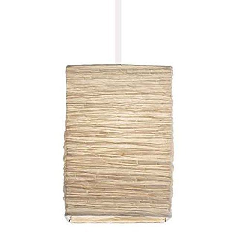Asian Rice Paper Lantern Pendant Lamp Shade Kit with 15.5' Plug-in Light Socket Cord, White