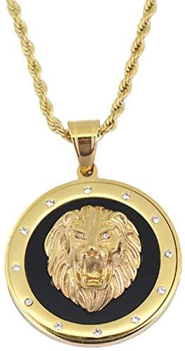 NC190 Hip Hop Animal Style Punk Lion Head Colgante Collar para Hombres Metal Rock Party Jewelry 60cm