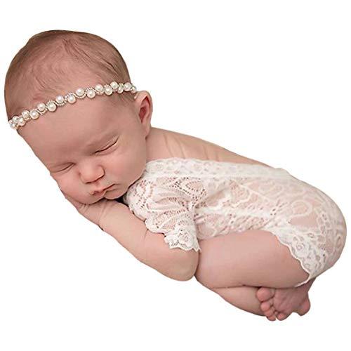 Ropa Bebe Niña Verano 2019 SHOBDW Mono Bebé Suave Monos De Encaje Unisex Mamelucos Body Infantil para Bebés Niños Pequeños Bebés Fotografía Prop Ropa Bebé Niña Recién Nacida(Blanco,One Size)