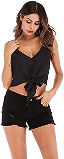 T-Shirt V-Neck Bow Tie Slim-fit Knit Suspenders Vest T-Shirt (Color : Black, Size : M)