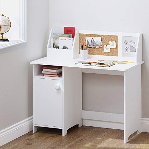 UTEX Kids Study Desk with Storage, Wooden Children School Study Table with Hutch and Storage Cabinet for 3-8 Years Girls Boys, Student's Study Computer Workstation Writing Table, White