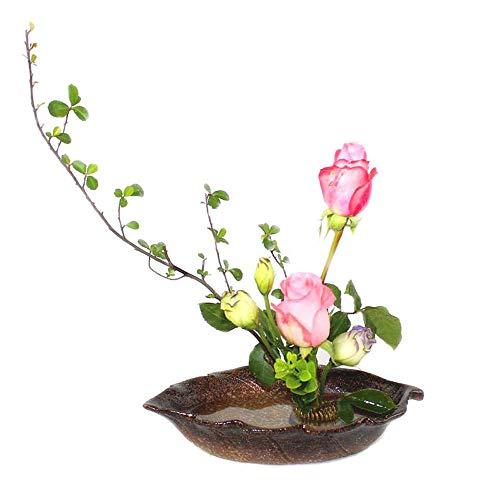 XHZJ Pot de Feuilles de Couleur Mica, Pot de Feuilles Bleu Paon, Pot en céramique créative, Arrangeur de Fleurs Japonais, Arroseur de Fleurs en Forme de Feuille