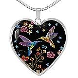 Crazyfly Collar de corazón de colibrí bohemio, cadena de serpiente, chapado en oro y plata, colgante de tono plateado, elegante regalo de joyería para mujer el día de San Valentín