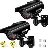 AlfaView Factice Caméra Surveillance à l'énergie Solaire Appareil-Photo de Télévision Fermé de Sécurité avec la Lumière Clignotante de LED pour Extérieur D'intérieur Maison Affaires (Noir -2 Paquet)