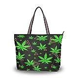 HMZXZ Bolsos y monedero geométricos triangl de marihuana verde para las mujeres bolso de mano de gran capacidad asa superior bolsa de hombro Shopper, color Multicolor, talla Large