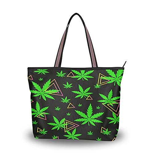 HMZXZ Bolsos y monedero geométricos triangl de marihuana verde para las mujeres bolso de mano de gran capacidad asa superior bolsa de hombro Shopper