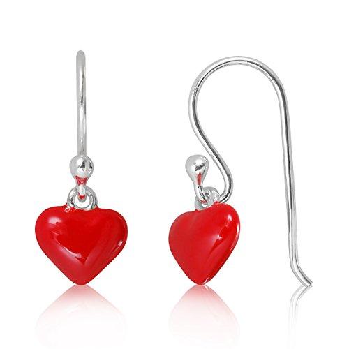 WithLoveSilver de plata de ley 925esmalte 8mm rojo puff corazón amor con bola gancho pendientes colgantes