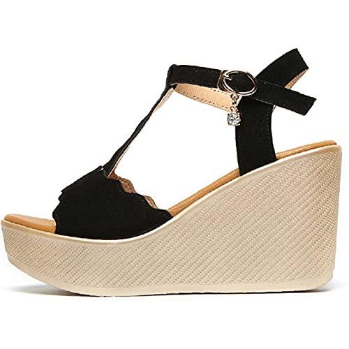 Señoras Gladiador Casual Cuña Tacón alto Verano Punta abierta Zapatos de mujer Slingback Hebilla al aire libre Sandalias de moda de playa Negocios