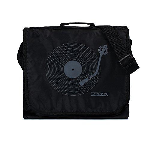 Keep It Vinyl-Tasche – Vintage Retro Style Record DJ LP Schallplatten Messenger Bag Schultertasche Gr. Einheitsgröße, Schwarz