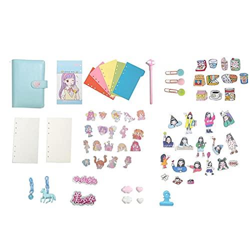 MLOPPTE Caja de regalo de cuenta manual,A6 Binder Diary NotebookSet de libros de mano de hojas sueltas Lovely Travel DiyAgenda Planificador Organizador azul