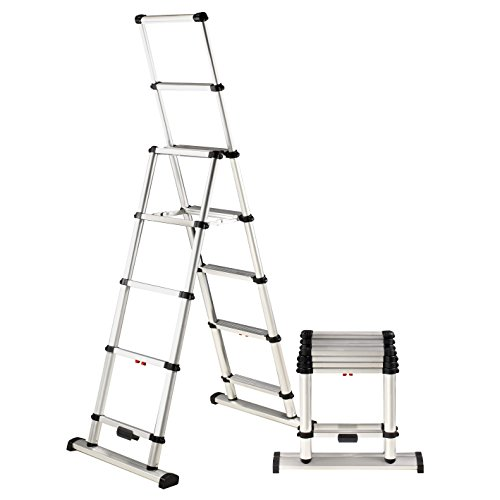 Telesteps 12ES OSHA Compliant 12 ft Reach Professional Wide Step Telescoping A-frame Ladder