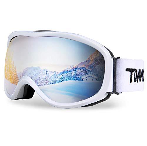 TOMSHOO Maschera da Sci, Occhiali da Sci Uomo, Antivento antiappannamento, per Uomo Donna e Bambino, per Pattinaggio, Motoslitte e Snowboard