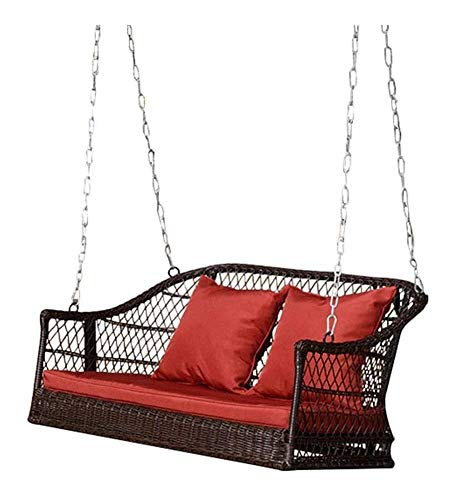 YYDD Porch Swing with Stand Outside Furniture Outdoor Rattan Rocking Chair Swing, Hanging Washable Cushion Lounge Chair