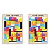 B&Julian Tetris - Juego de 2 puzzles de madera para niños de colores, formas geométricas con caja, juego de ajedrez (