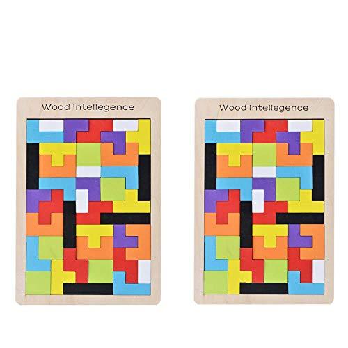 B&Julian 2er Tetris Holz Tangram Kinder Spiel bunt Holzpuzzle geometrisch Formen mit Box Knobelspiel Sparpack(