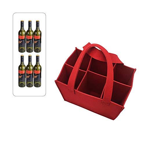 Integrity.1 Bolsa de Vino de Feltro, 6 Botellas de Bolsas de Vino, Bolsa de Botella Portátil,Botellas de Vino Bolsa Fieltro,para Picnic, Camping y Viajes (Rojo)