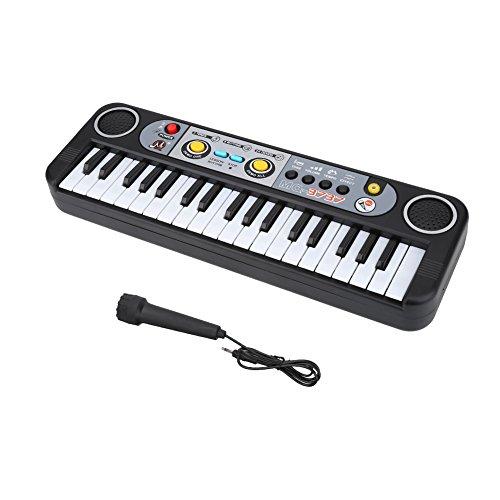 SolUptanisu Piano Electrónico para Niños,37 Teclas Teclado Piano Eléctrico Digital Infantil Educativos Música Instrumental Juguete Teclado Electrónico Portátil con Micrófono para Principiantes