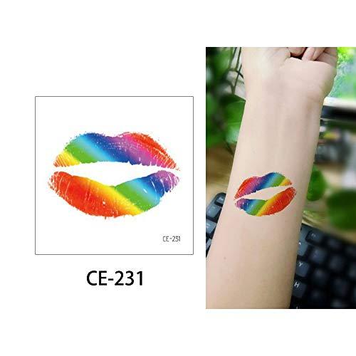 5pcs Etiqueta engomada del Tatuaje Temporal Falso Tatuaje Arco Iris Tatto Impermeable niño 6x6cm