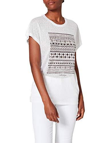Only ONLPIPER REG Bat S/S Top Box JRS Camiseta, Blanco Brillante/impresión: Salvaje, M para Mujer