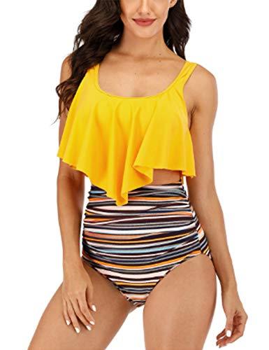 newrong Traje de baño de hoja de loto, cintura alta, estampado bonito, playa, tiempo libre, secado rápido, verde militar, Asia XXL (EU XL) amarillo X-Small