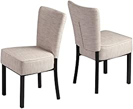 LUCKYERMORE Upholstered Dining Chairs Set of 2 PU Leather Modern Dining Room Chairs for Home Kitchen Living Room Bedroom, Vinyl Cream