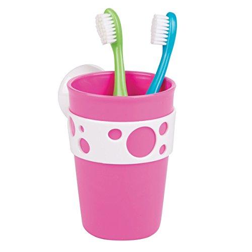 mDesign Zahnputzbecher – Design Zahnputzbecher mit Sauggriff aus PVC – Zahnbürstenhalter in schönem Pink