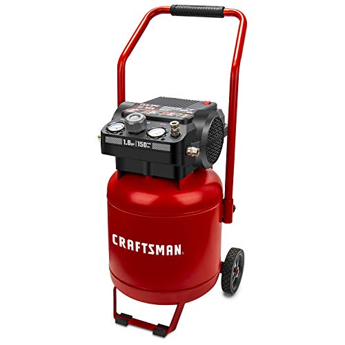 Craftsman Air Compressor, 10 Gallon Peak 1.8 Horsepower Oil-free Compressor, Max 150 PSI, Vertical...