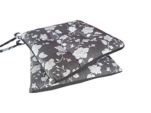 Juego de 2 cojines para silla de cocina, suaves, acolchados, cómodos, para sillas de comedor, 38 x 38 cm, cuadrados, universales, con cordones, lavables