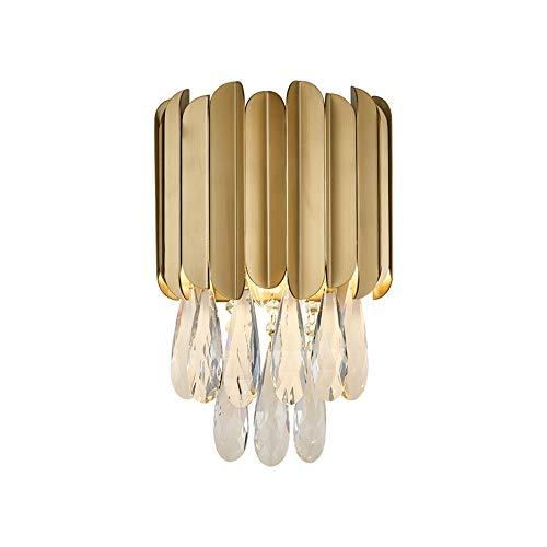 LCSD Luces de Pared Lámpara De Pared De Cristal Dorado Luz Cálida Acero Inoxidable Nórdico Corredor De Arte Creativo Comedor Sala De Estar Dormitorio Cama 23 * 30 Cm